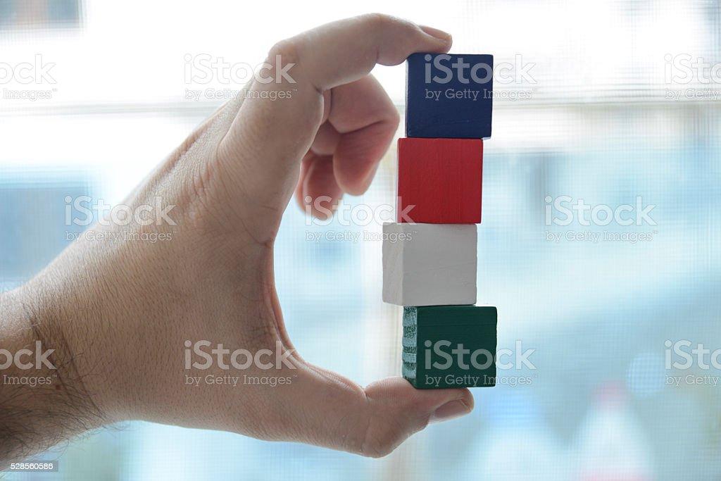 Four Blank Building Blocks stock photo
