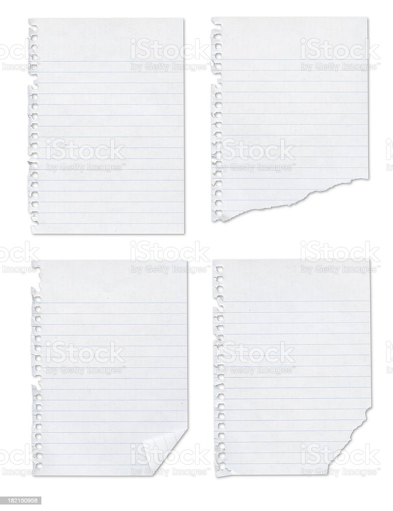 Four Blank notepad pages + Outline paths (no shadows) stock photo