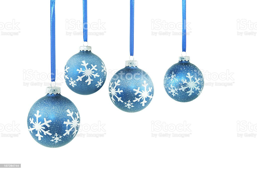 Four Blue Christmas Ornaments royalty-free stock photo