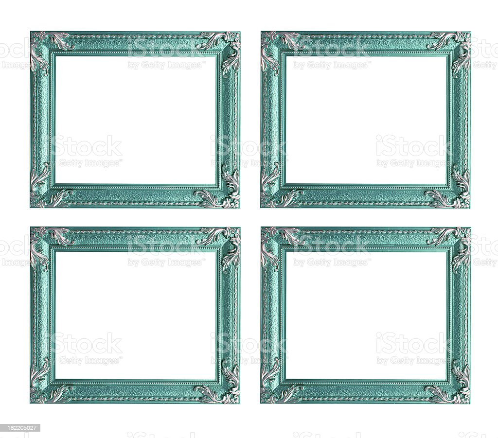 Four blue picture frames royalty-free stock photo