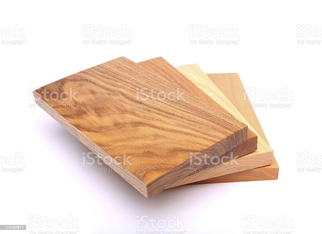 Four boards (acacia, oak, elm, lime) royalty-free stock photo