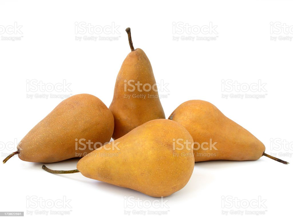 Four Bosc Pears. stock photo