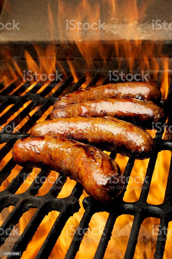 Four Bratwurst on the grill royalty-free stock photo