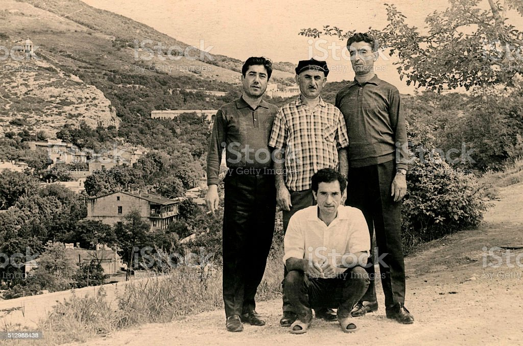 Four Brothers in 1968. stock photo