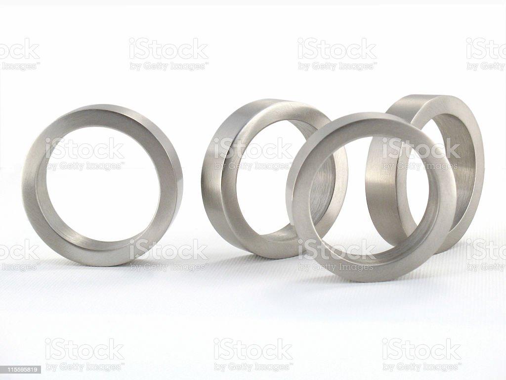 Four Brushed Metal Rings royalty-free stock photo