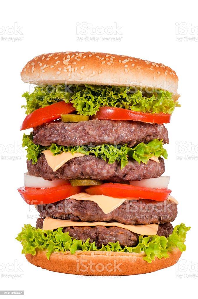 Four burgers stock photo