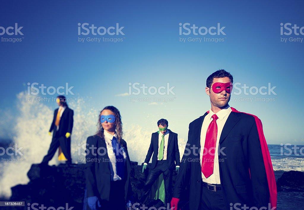 Four Business Superheroes stock photo