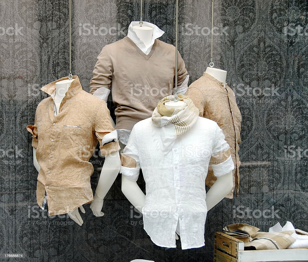 Four busts in a men's clothing shop royalty-free stock photo