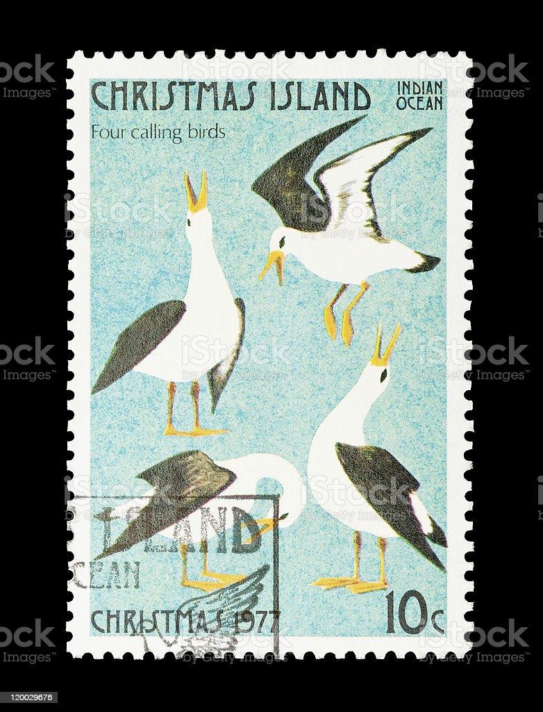 four calling birds stock photo