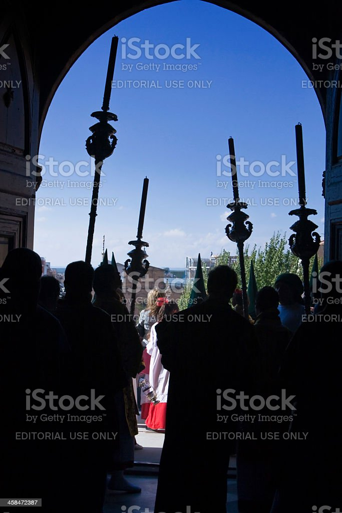 Four candles of a church at Holy week, Spain royalty-free stock photo
