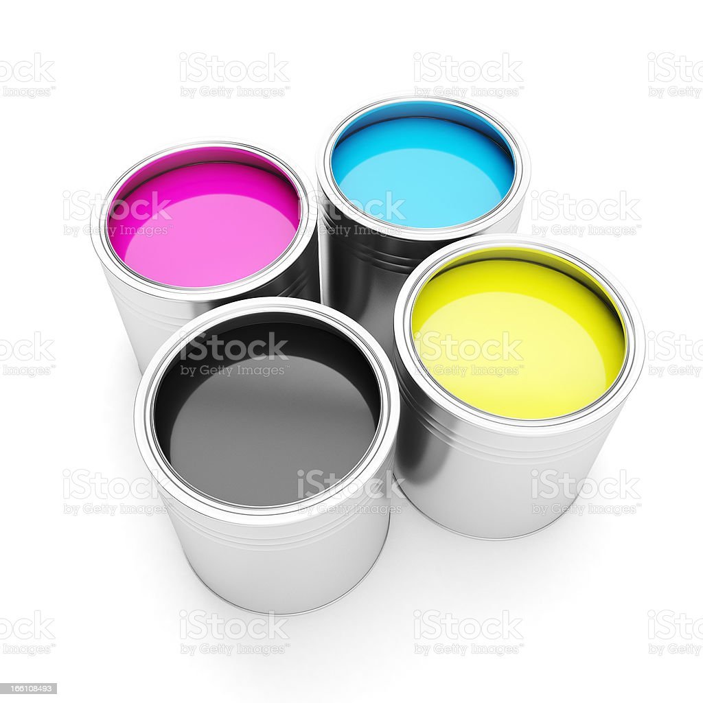 Four cans of colorful ink for printing technologies stock photo