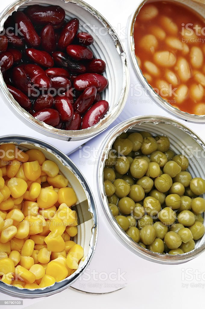 Four Cans of Vegetables stock photo