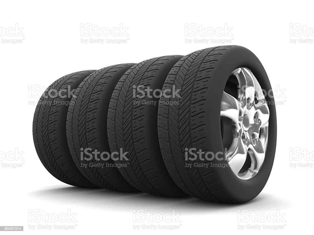 Four car tires isolated on white royalty-free stock photo