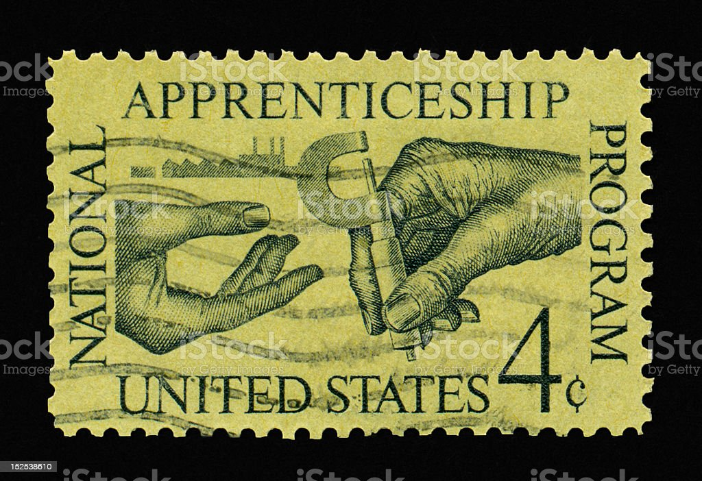 Four Cent Apprenticeship Stamp royalty-free stock photo
