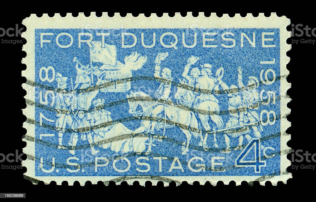 Four Cent Fort Duqusne Stamp stock photo