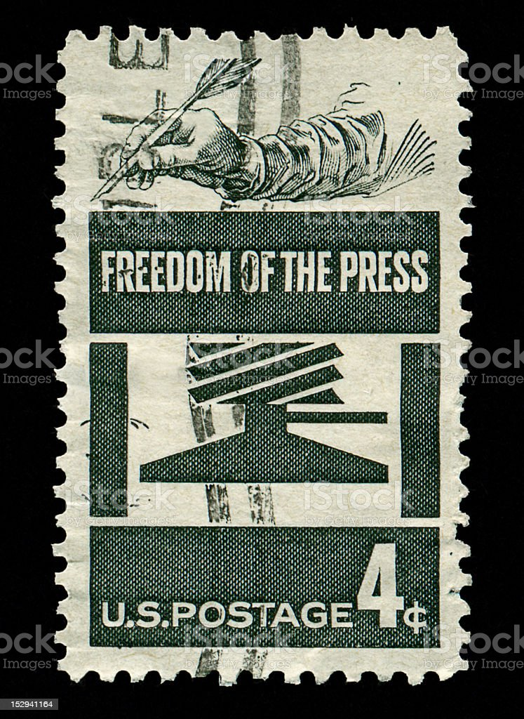 Four Cent Freedom of the Press Stamp royalty-free stock photo