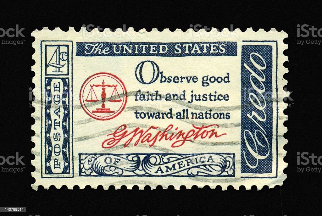 Four Cent - Observe Good Faith and Justice Stamp royalty-free stock photo