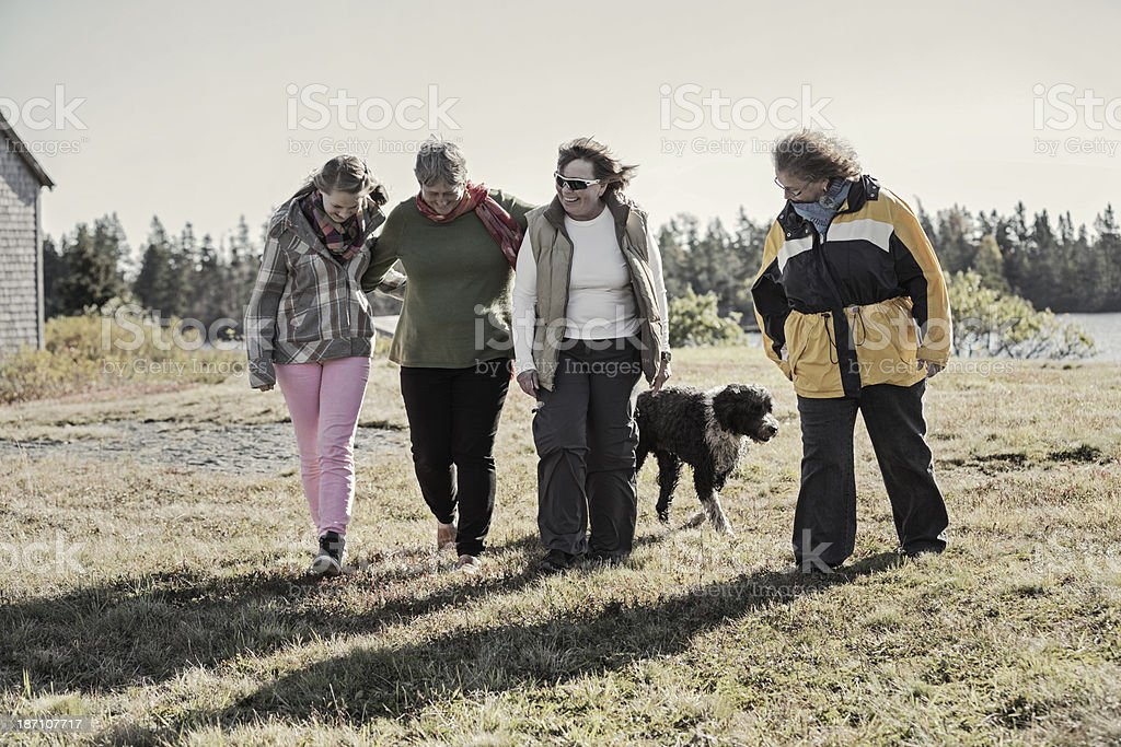 Four Cheerful Family Women Walking And Talking royalty-free stock photo