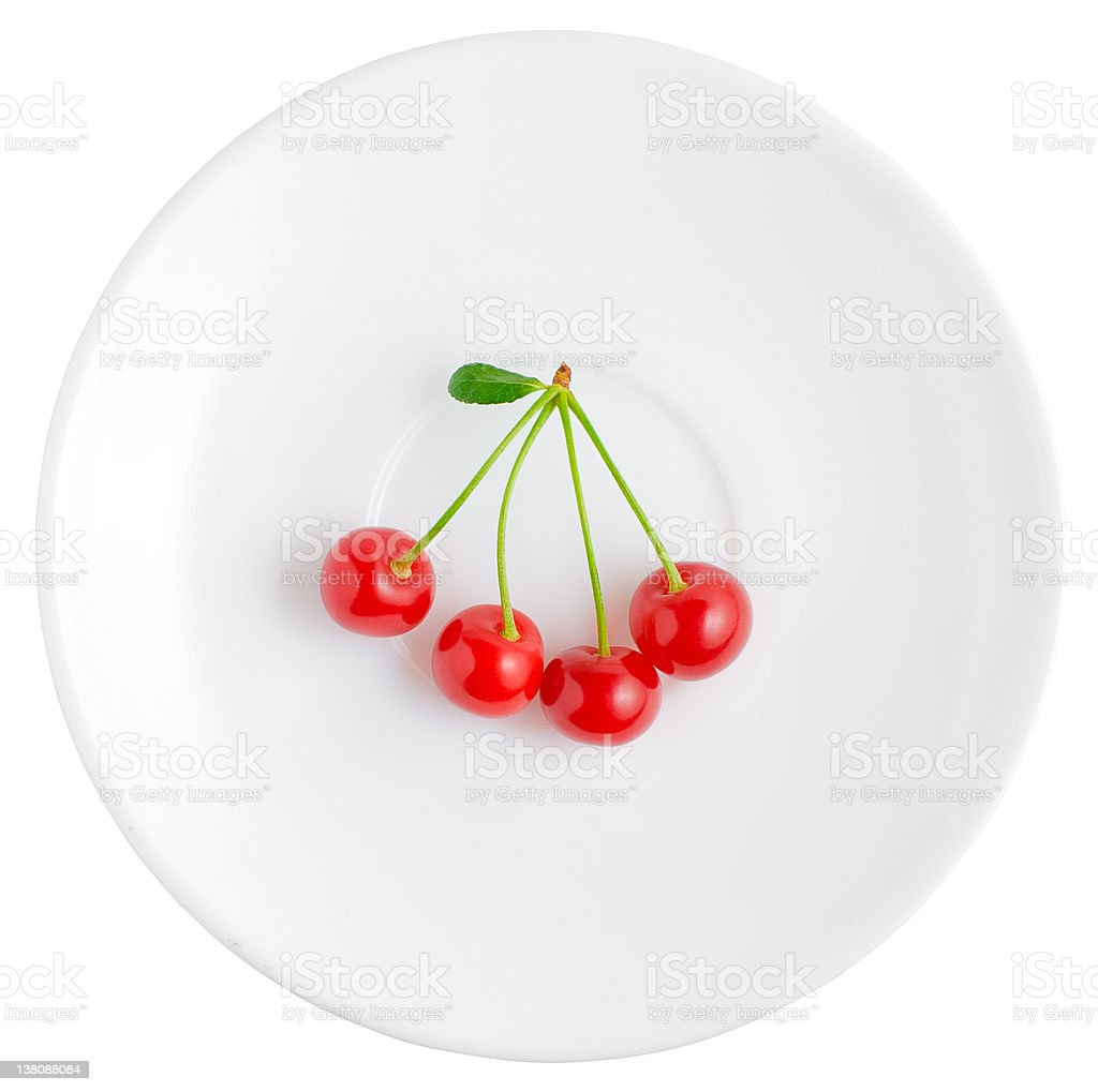 Four cherries | Isolated royalty-free stock photo