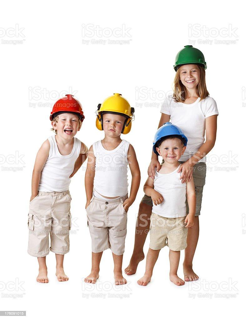 four children in helmet royalty-free stock photo
