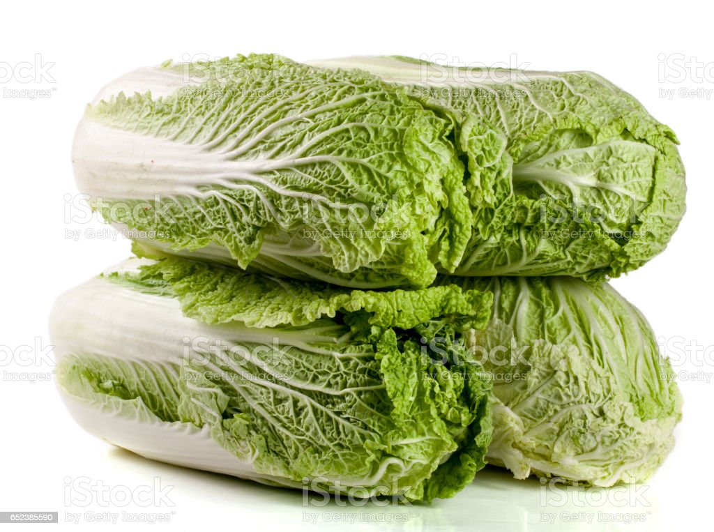 four chinese cabbage and half isolated on white background stock photo