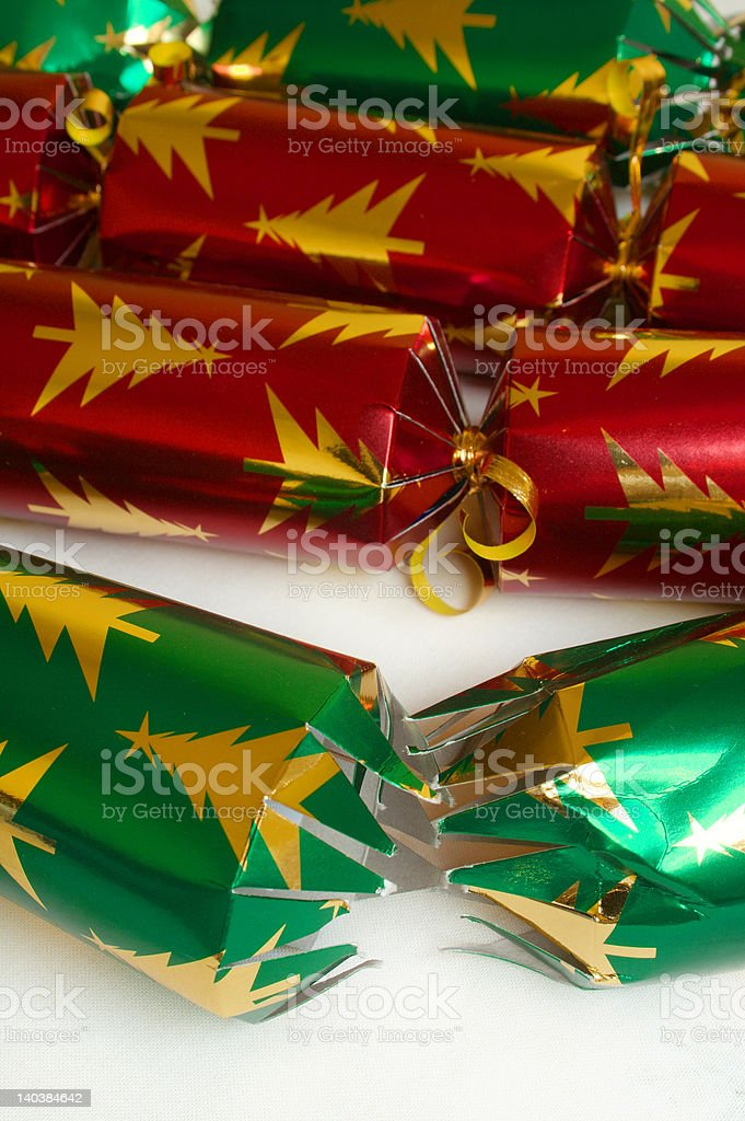 Four Christmas Crackers royalty-free stock photo