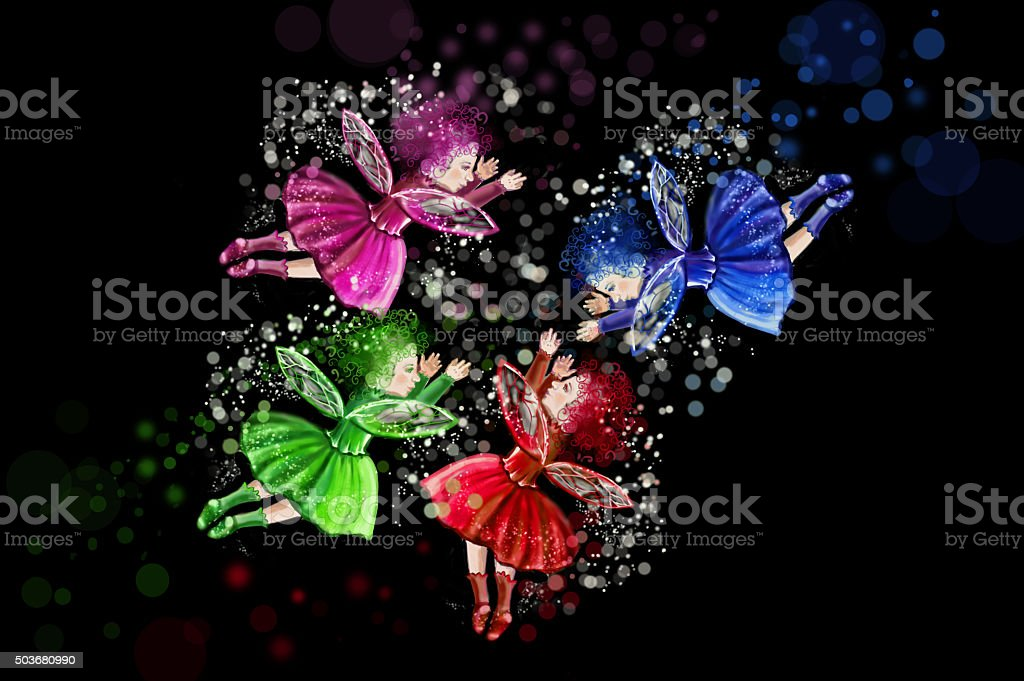 Four Christmas fairies positioned in a circle stock photo