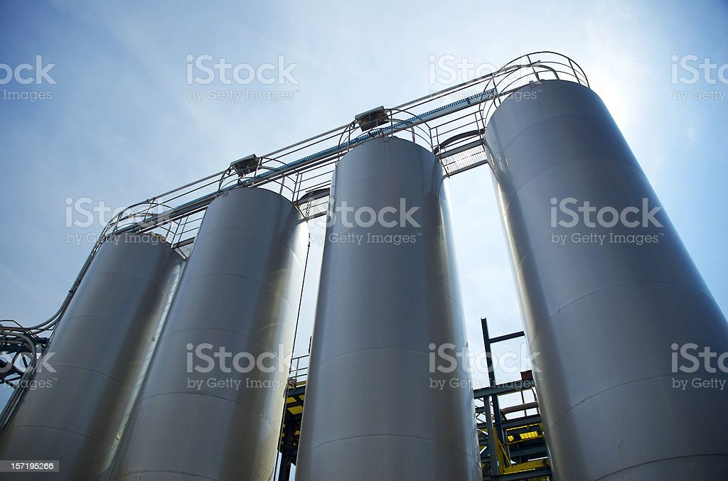 Four circular metal sills from low angle stock photo