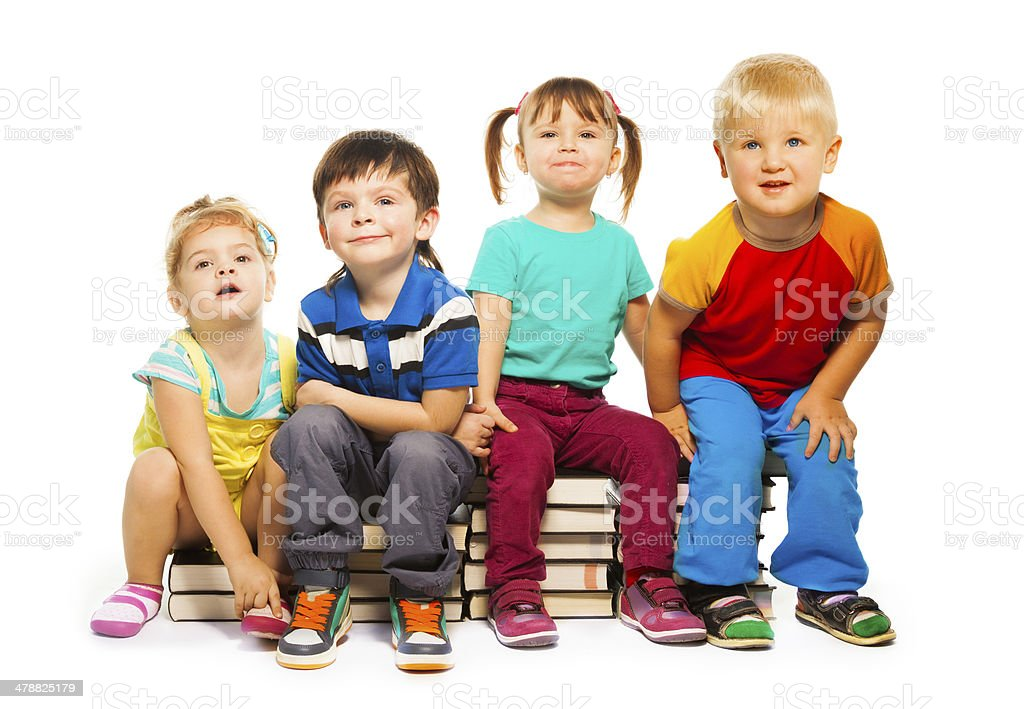 Four clever kids stock photo