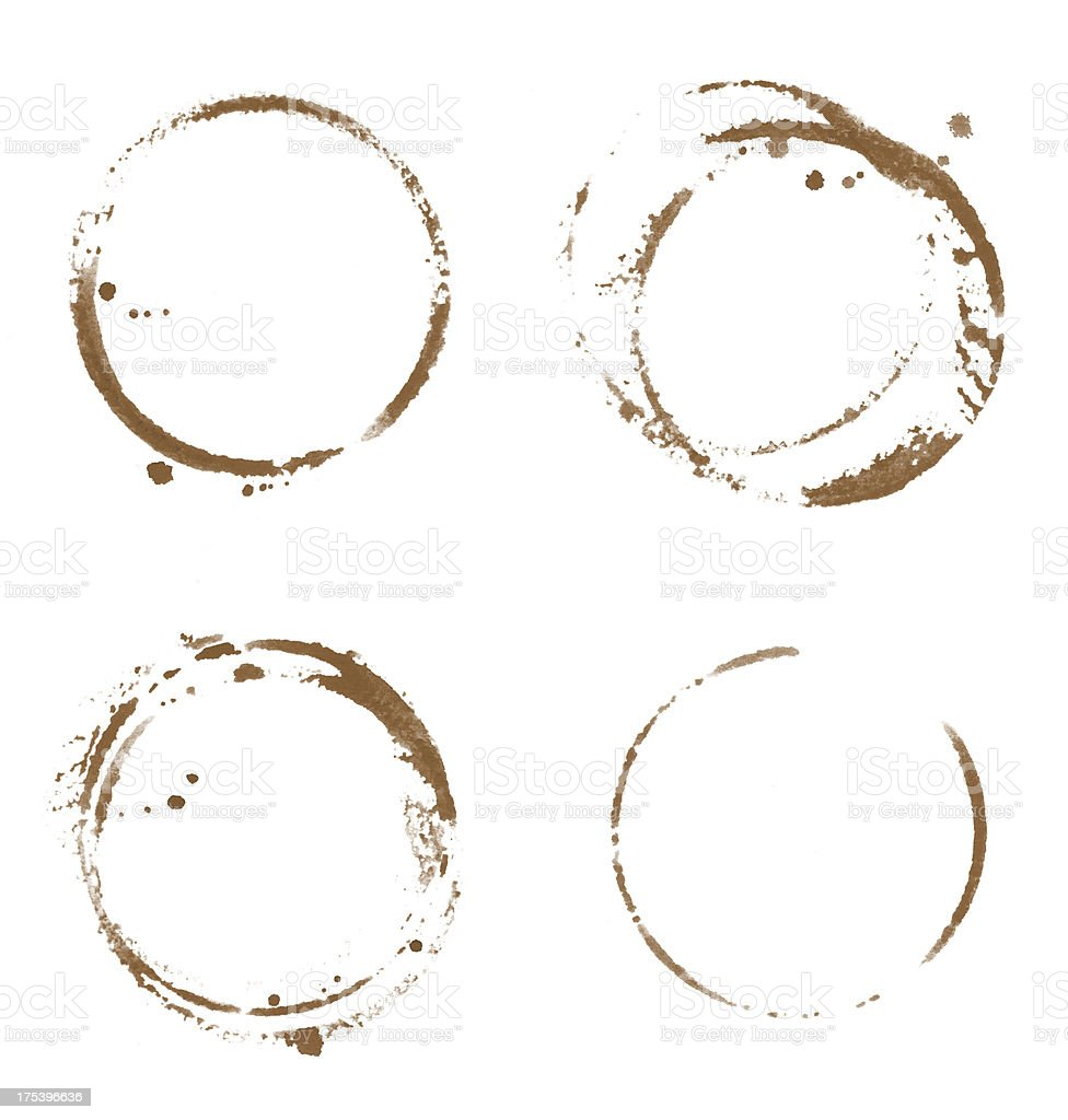 Four Coffee Cup Stains royalty-free stock photo