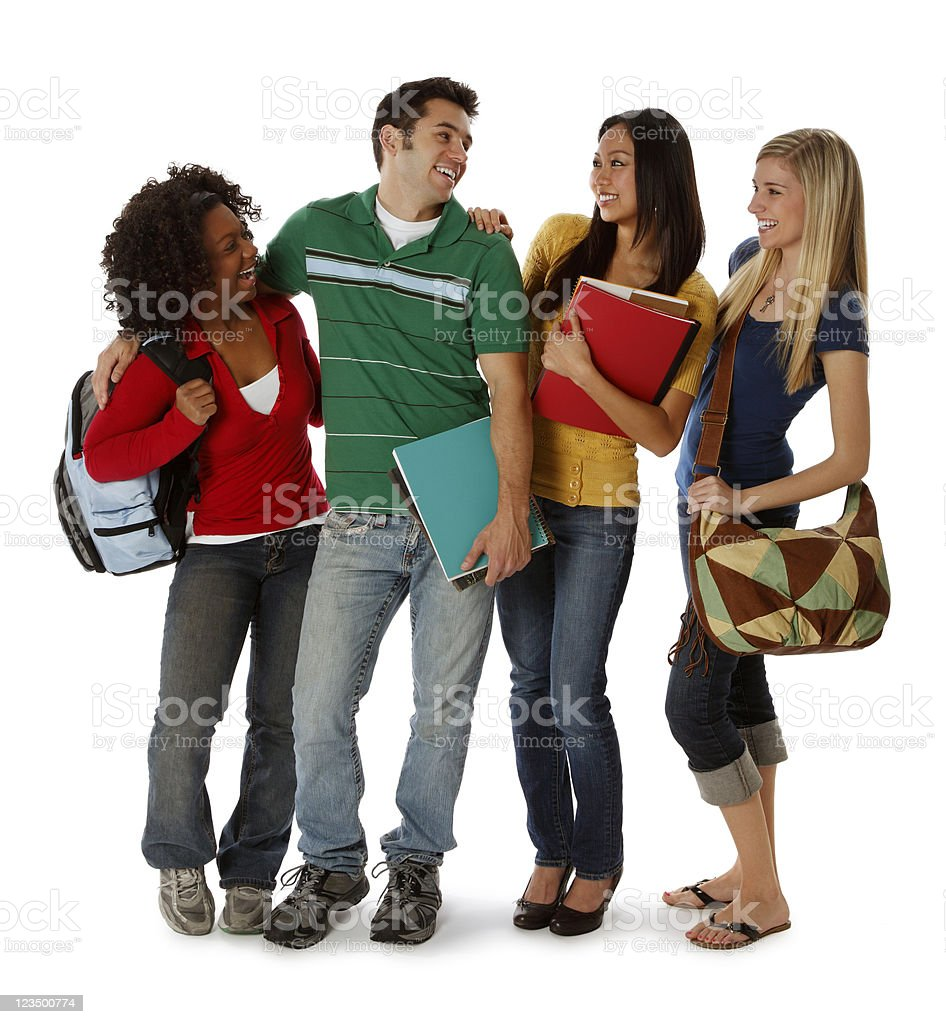 Four College Students Smiling on White royalty-free stock photo