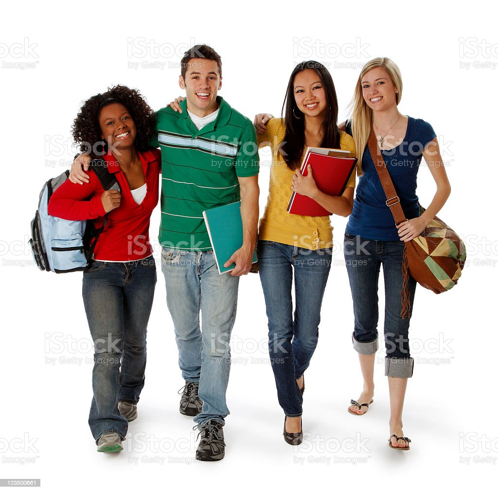 Four College Students Walking on White stock photo