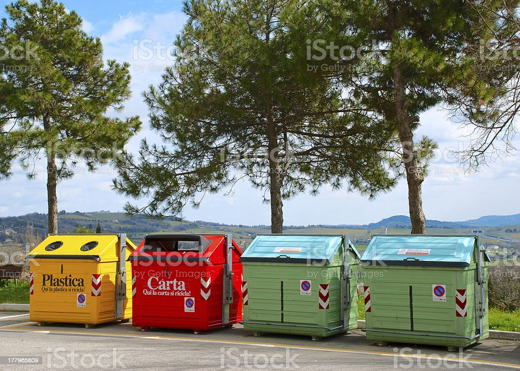 Four color recycling bins royalty-free stock photo