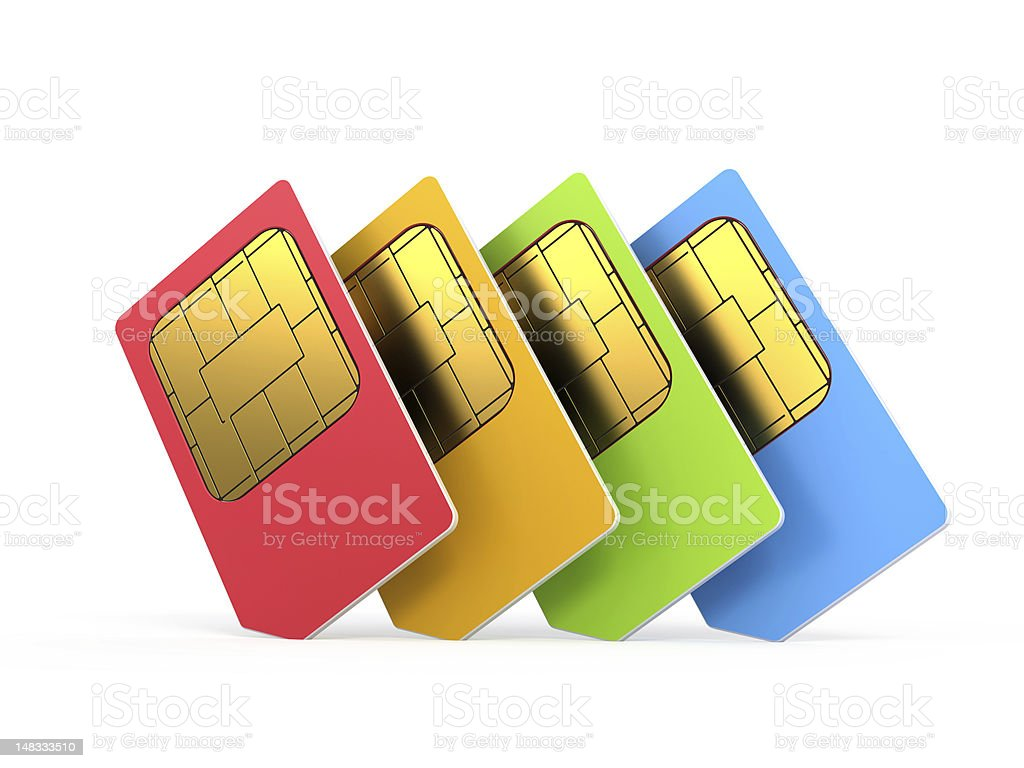 Four color sim sard stock photo