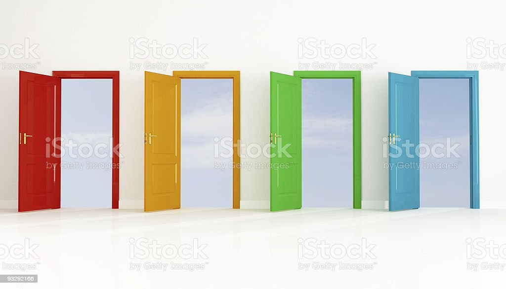 Four colored open door stock photo