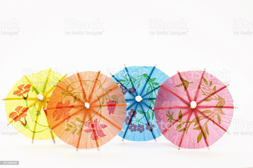 Four Colored Party Umbrellas royalty-free stock photo