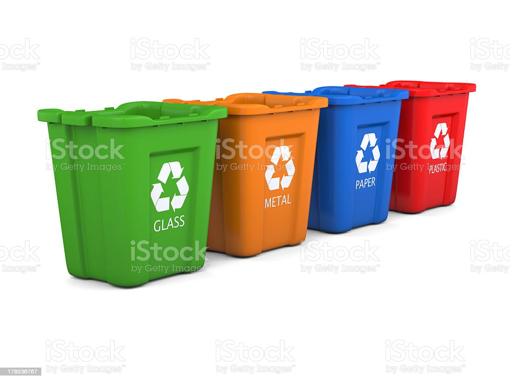 Four colored recycling bins lined up stock photo
