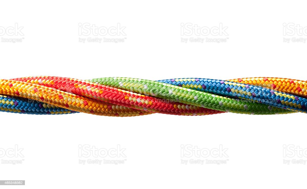Four colored ropes stock photo