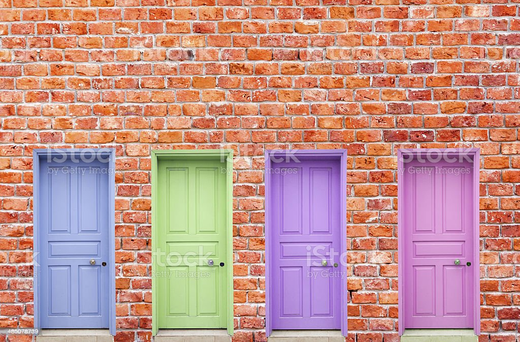 Four Colorful Doors stock photo