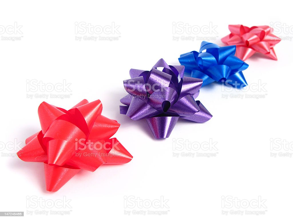 Four colorful gift Bows stock photo