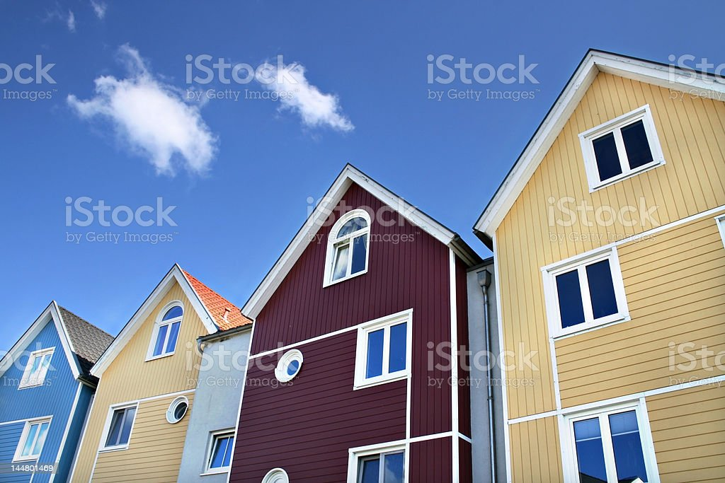 Four colorful houses royalty-free stock photo