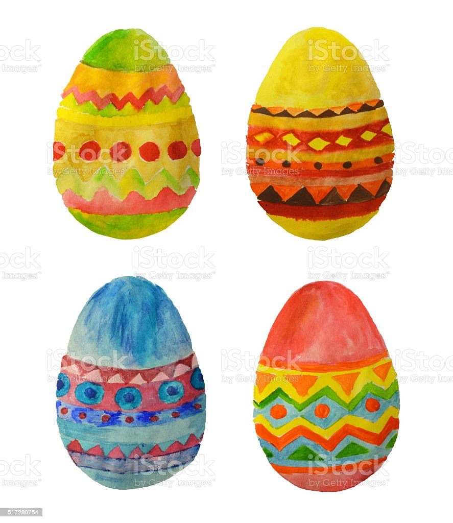 Four colorful watercolor Easter Eggs for your design stock photo