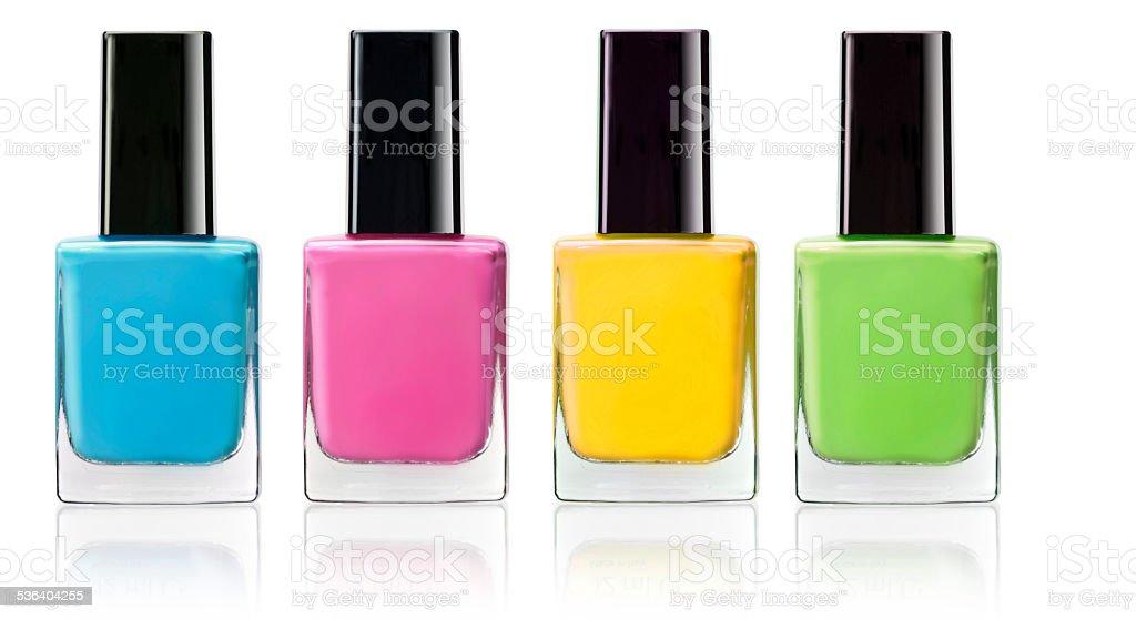 four colour of nail polish stock photo