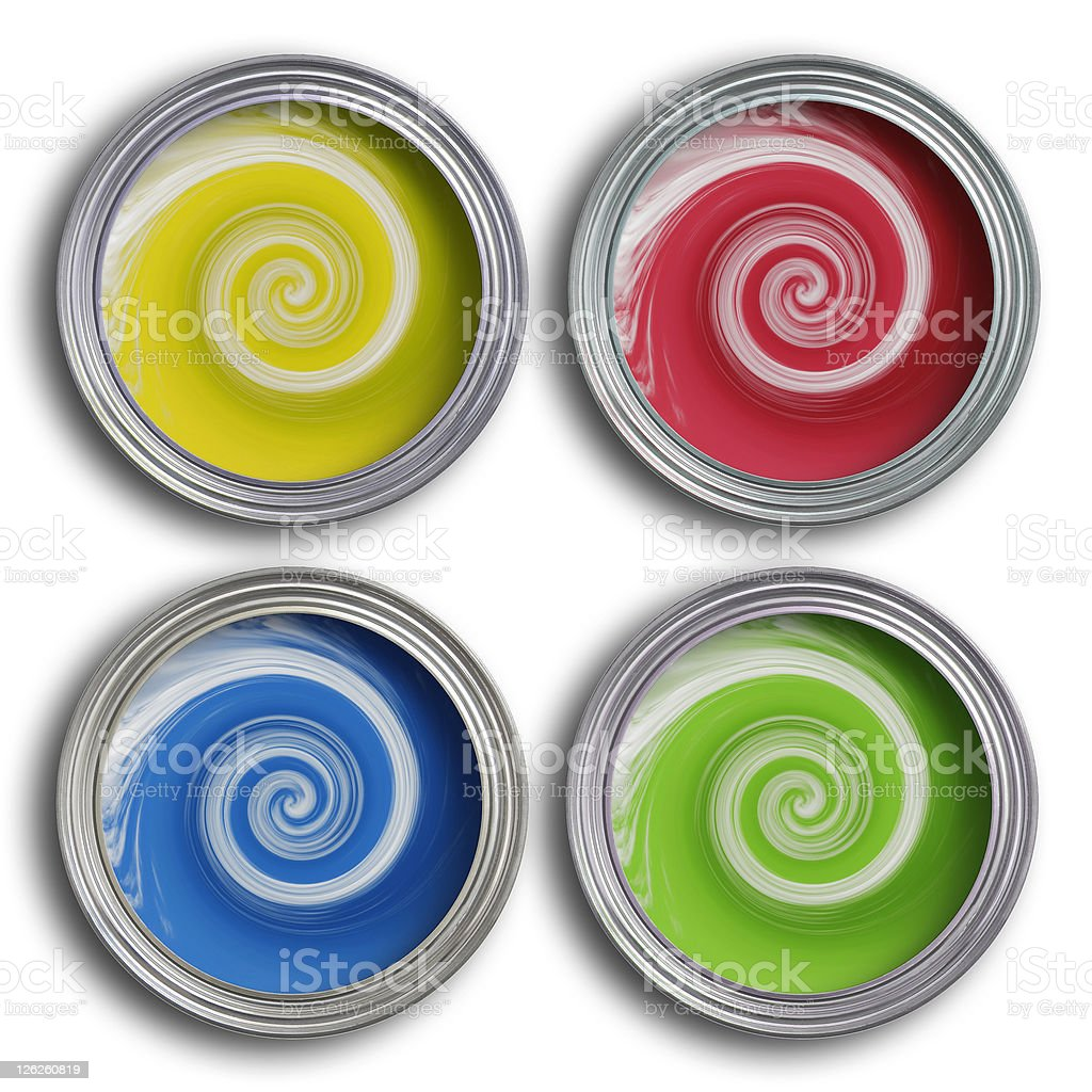 Four coloured paint tins with swirling paint royalty-free stock photo