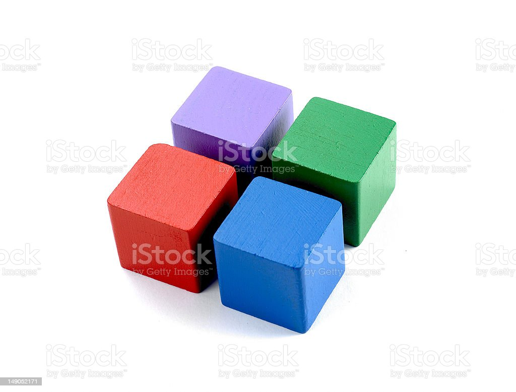 Four coloured wooden blocks stock photo