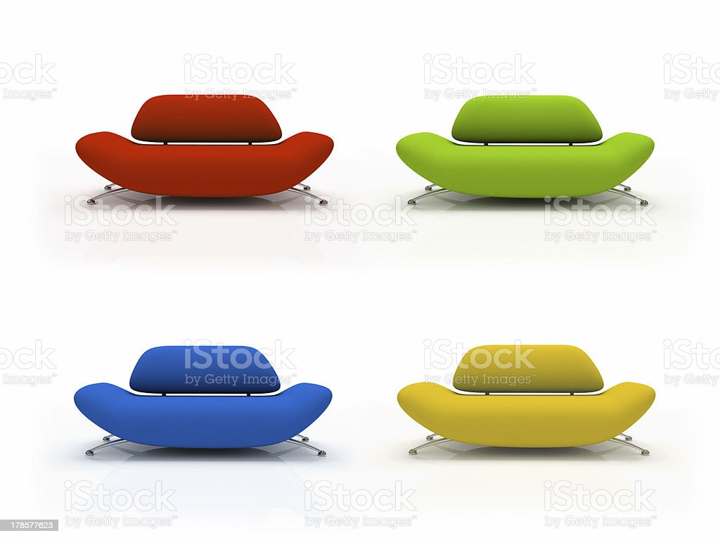 Four colourful sofas isolated on white background royalty-free stock photo