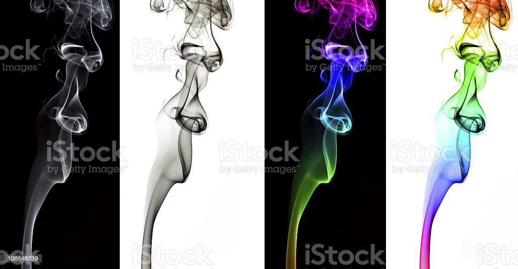 Four colourised smoke pack royalty-free stock photo