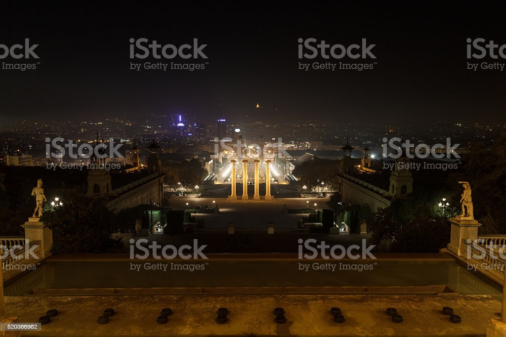 Four Columns and Placa d Espanya at night, Barcelona stock photo