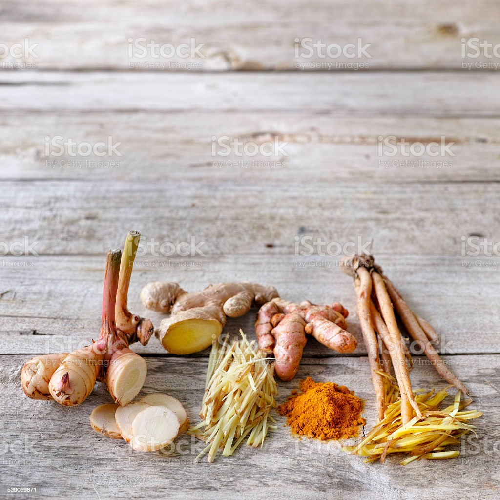 Four common root herbs for Thai food. stock photo
