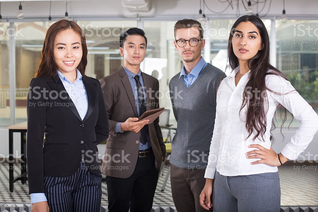 Four Confident Diverse Young Business People stock photo